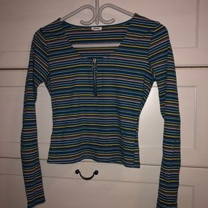 Ribbed long-sleeve zip-up crop top from Garage